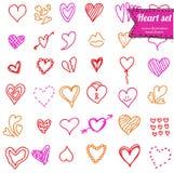 Ensemble de griffonnage de coeur Images stock