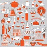 Ensemble de griffonnage de nourriture, de légume et de vaisselle de cuisine Configuration Photos stock
