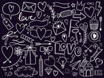 Ensemble de griffonnage de jour de valentines, objets pour le concept et conception, appartement d'illustration de vecteur Coeur, illustration de vecteur
