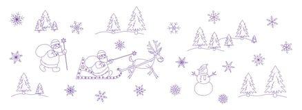 Ensemble de griffonnage de Noël de Santa Claus illustration libre de droits