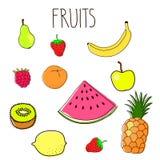 Ensemble de griffonnages de fruit Image stock
