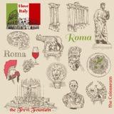 Ensemble de griffonnages de Rome illustration libre de droits