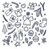 Ensemble de griffonnages de Noël Illustration de vecteur Image libre de droits