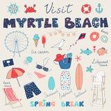 Ensemble de griffonnages tirés par la main de Myrtle Beach, la Caroline du Sud, Etats-Unis illustration libre de droits