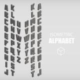 Ensemble de gris isométrique d'alphabet Photographie stock