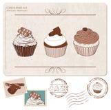 Ensemble de gâteaux sur la vieille carte postale, avec des estampilles Photo stock