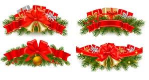 Ensemble de guirlandes de Noël de vacances avec les bandes rouges Image libre de droits