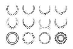 Ensemble de guirlandes grises de laurier d'isolement sur le fond blanc Éléments de conception de vecteur illustration stock