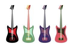 Ensemble de guitares colorées Guitares électriques de roche multicolore Photographie stock