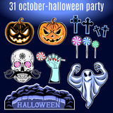 Ensemble de Halloween, collection d'icône de Halloween Vecteur Photographie stock
