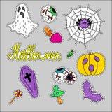 Ensemble de Halloween d'icônes Ensemble tiré par la main de bande dessinée d'objet Image libre de droits