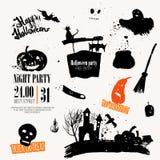 Ensemble de Halloween de vecteur de symboles tirés par la main Images libres de droits