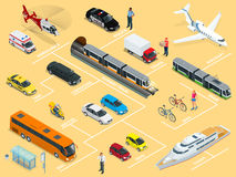 Ensemble de haute qualité isométrique plat d'icône de voiture de transport de la ville 3d Image stock