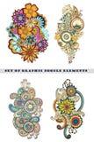 Ensemble de Henna Paisley Mehndi Doodle Element Photo stock