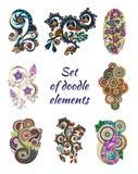Ensemble de Henna Paisley Mehndi Doodle Element Image stock