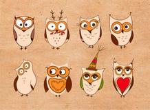 Ensemble de hiboux mignons Dirigez les hiboux de bande dessinée et les oiseaux de jeunes hiboux sur le fond blanc illustration libre de droits