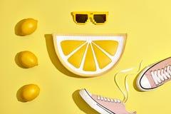 Ensemble de hippie d'été de mode, citron Style minimal Image libre de droits