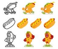 Ensemble de hot dog de personnage de dessin animé Images libres de droits