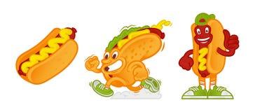 Ensemble de hot dog de personnage de dessin animé illustration stock