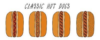Ensemble de hot-dogs classiques Pour le menu d'aliments de préparation rapide Illustration réaliste de vecteur propre de haute qu illustration libre de droits