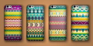 Ensemble de huit couvertures pour votre téléphone portable Origines ethniques décoratives de vecteur Image libre de droits