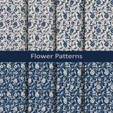 Ensemble de huit modèles sans couture de vintage de fleur de vecteur conception pour empaqueter, couvertures, textile Photos stock