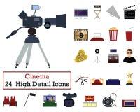 Ensemble de 24 icônes de cinéma illustration stock