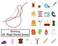 Ensemble de 24 icônes de couture illustration stock