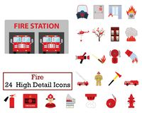 Ensemble de 24 icônes du feu illustration stock