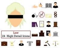 Ensemble de 24 icônes de loi illustration de vecteur