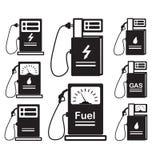 Ensemble-de-icône-ravitaillement-voiture-diesel-gaz Photo libre de droits