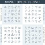 ensemble de 100 icônes Images libres de droits