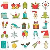 Ensemble de 25 icônes colorées de Noël Image stock