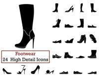 Ensemble de 24 icônes de chaussures illustration de vecteur