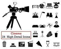 Ensemble de 24 icônes de cinéma illustration libre de droits