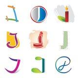 Ensemble de 9 icônes de lettre de J - éléments décoratifs Images libres de droits