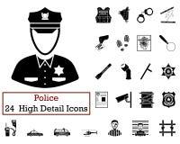 Ensemble de 24 icônes de police illustration de vecteur