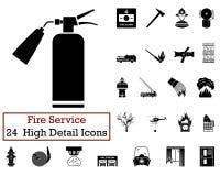 Ensemble de 24 icônes de pompiers illustration stock
