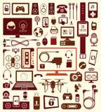 Ensemble de icônes et communication de dispositifs Images stock