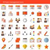 Ensemble de 49 icônes modernes de vecteur de gestion des projets Images libres de droits
