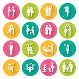 Ensemble de 16 icônes plates blanches Images libres de droits