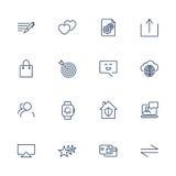 Ensemble de 16 icônes pour le logiciel, l'application ou les sites Web - media et technologie sociaux Photo libre de droits