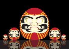 Ensemble de Japonais Lucky Doll, illustrations de vecteur Photographie stock libre de droits
