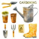 Ensemble de jardinage d'aquarelle Images libres de droits