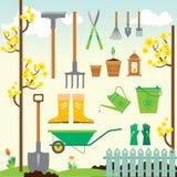 Ensemble de jardinage de ressort mignon illustration de vecteur