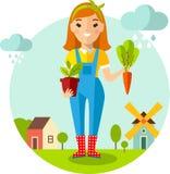 Ensemble de jardinier, de jardin, de moulin, de grange et de paysage de photos avec le concept de jardinage Image libre de droits