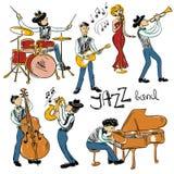 Ensemble de Jazz Musicians colorée Photos stock