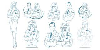 Ensemble de jeune docteur avec le stéthoscope illustration libre de droits