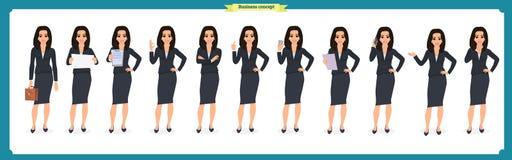 Ensemble de jeune femme d'affaires présentant dans différentes poses Caractère de personnes rester D'isolement sur le blanc Style Images stock