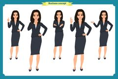 Ensemble de jeune femme d'affaires présentant dans différentes poses Caractère de personnes rester D'isolement sur le blanc Style Image stock